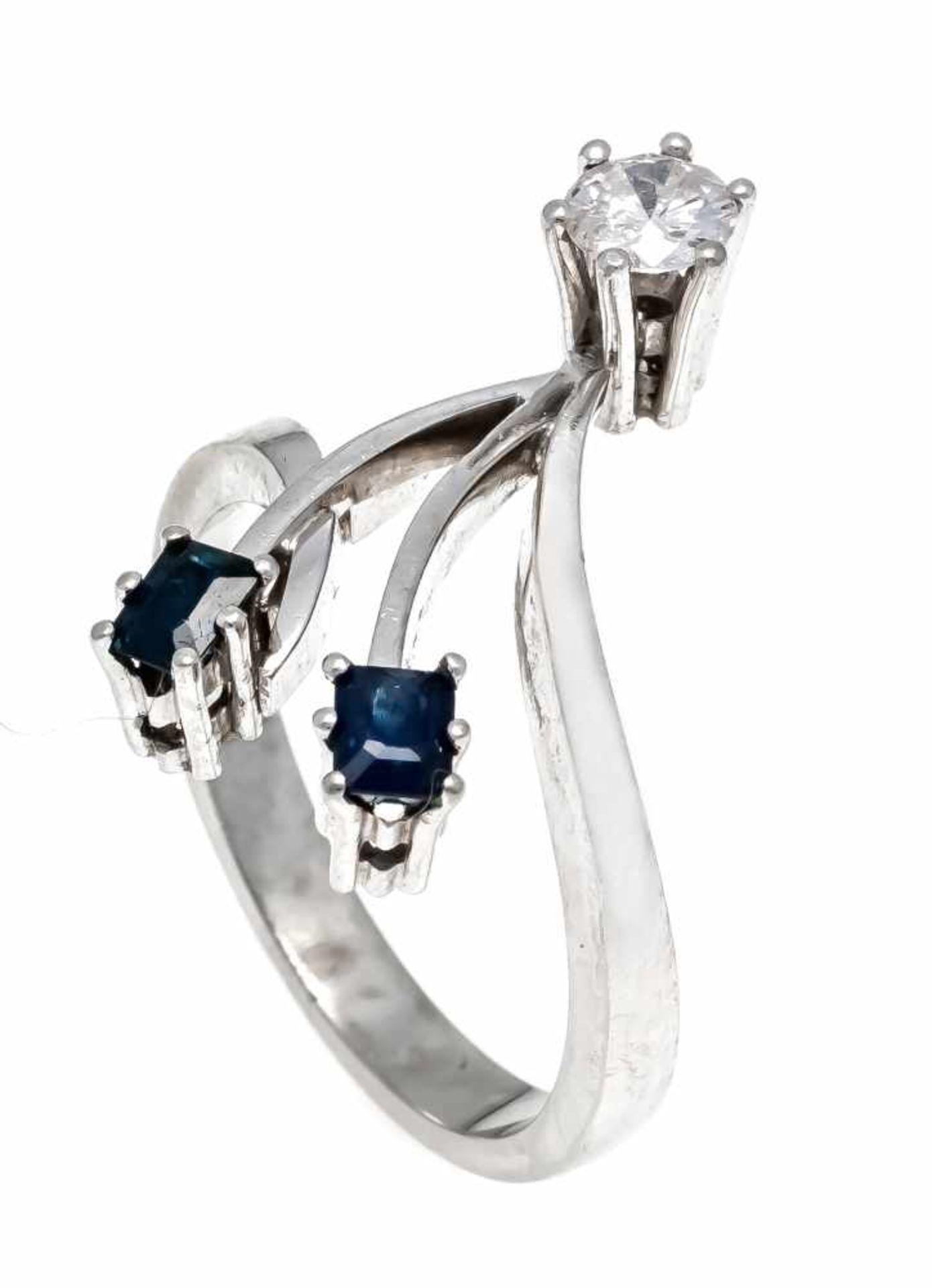 Saphir-Brillant-Ring WG 585/000 mit 2 im Smaragdschliff fac. Saphiren 3,8 x 3 mm in guter Farbe
