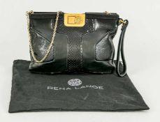 Handtasche von Rena Lange, Leder glatt und in Schlangenleder-Optik. Kettenhenkel, mit Staubbeutel,