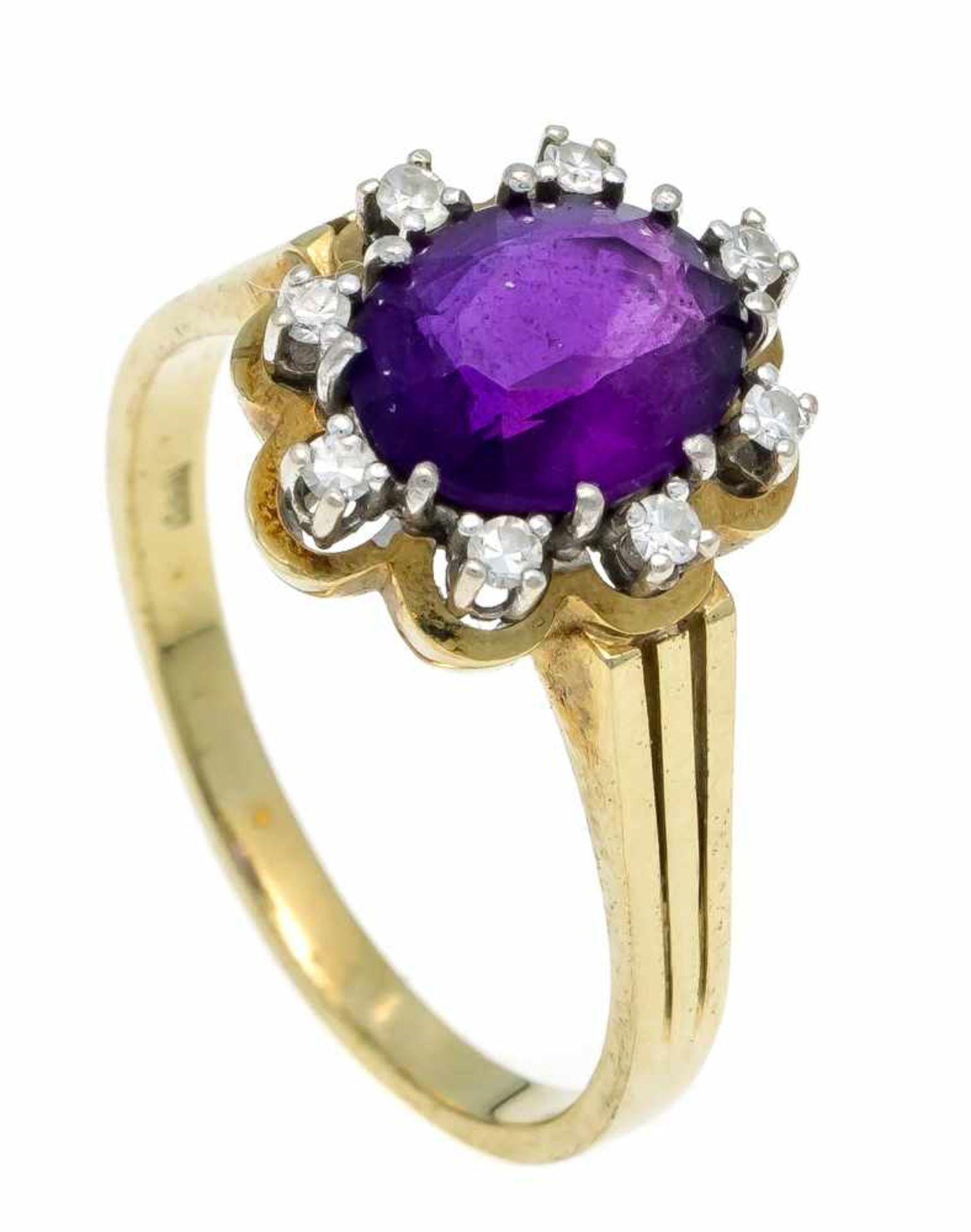 Amethyst-Diamant-Ring GG/WG 585/000 mit einem oval fac. Amethyst 9,5 x 8 mm und 8 Diamanten, zus.