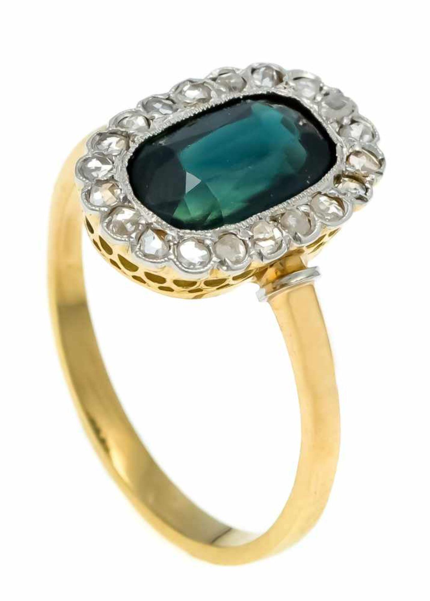 Saphir-Diamantrosen-Ring GG/WG 750/000 ungest., gepr., mit einem oval fac. Saphir 10 x 6 mm in einem