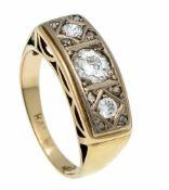 Altschliff-Diamant-Ring 585/000 mit einem Altschliff-Diamanten 0,50 ct und 2 Altschliff-Diamanten,