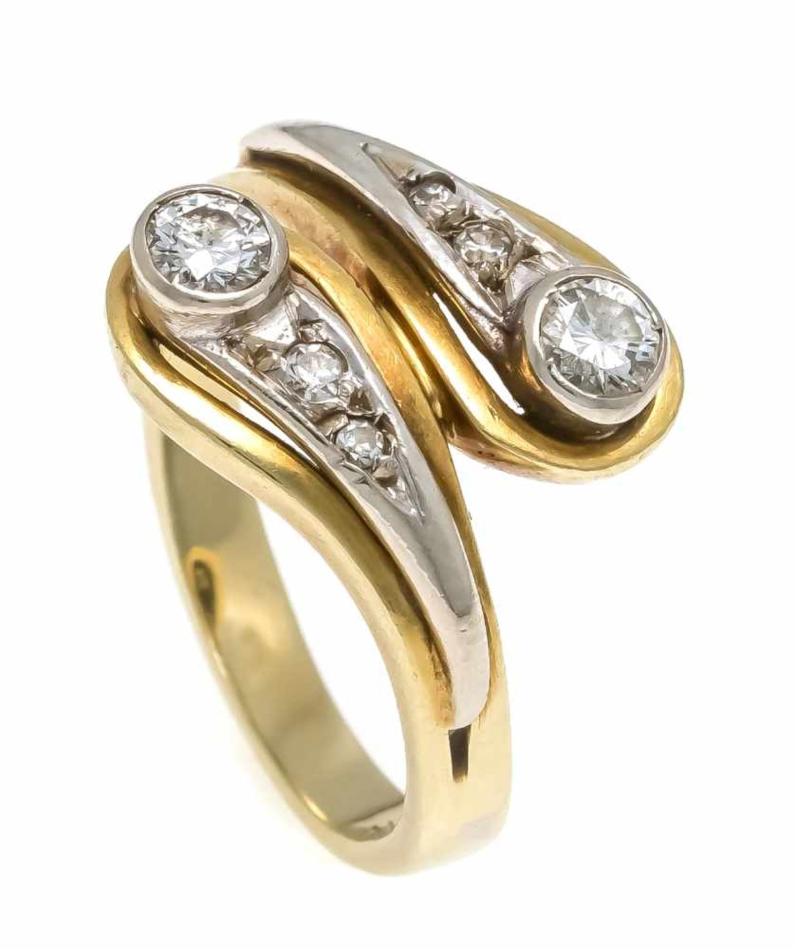 Brillant-Ring GG/WG 585/000 mit 2 Brillanten und 4 Diamanten, zus. 0,30 ct l.get.W-get.W/SI, RG