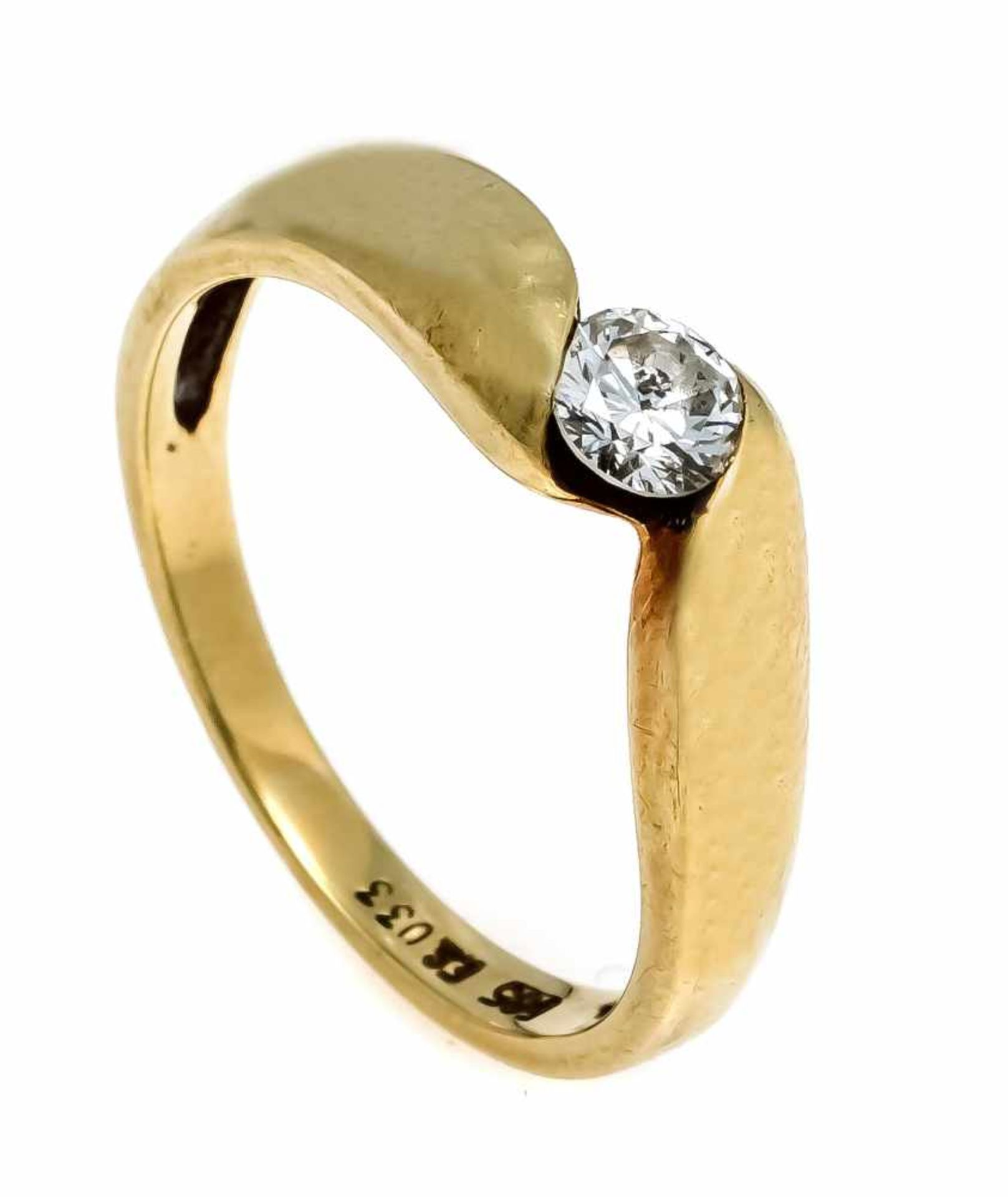 Brillant-Ring GG 585/000 mit einem Brillanten 0,33 ct l.get.W/VS-SI, RG 55, 3,6 gDiamond ring GG