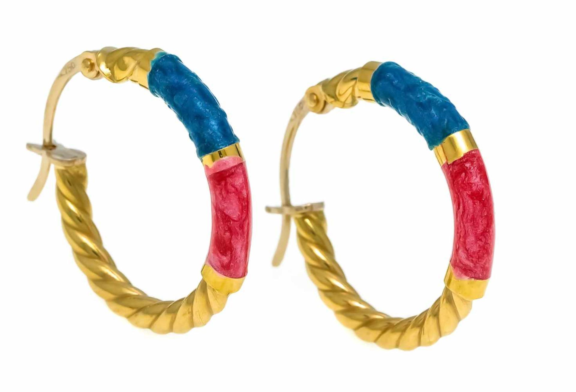 Creolen GG 750/000 mit türkiser und roter Emaille, L. 22,5 mm, 2,3 gHoop earrings GG 750/000 with