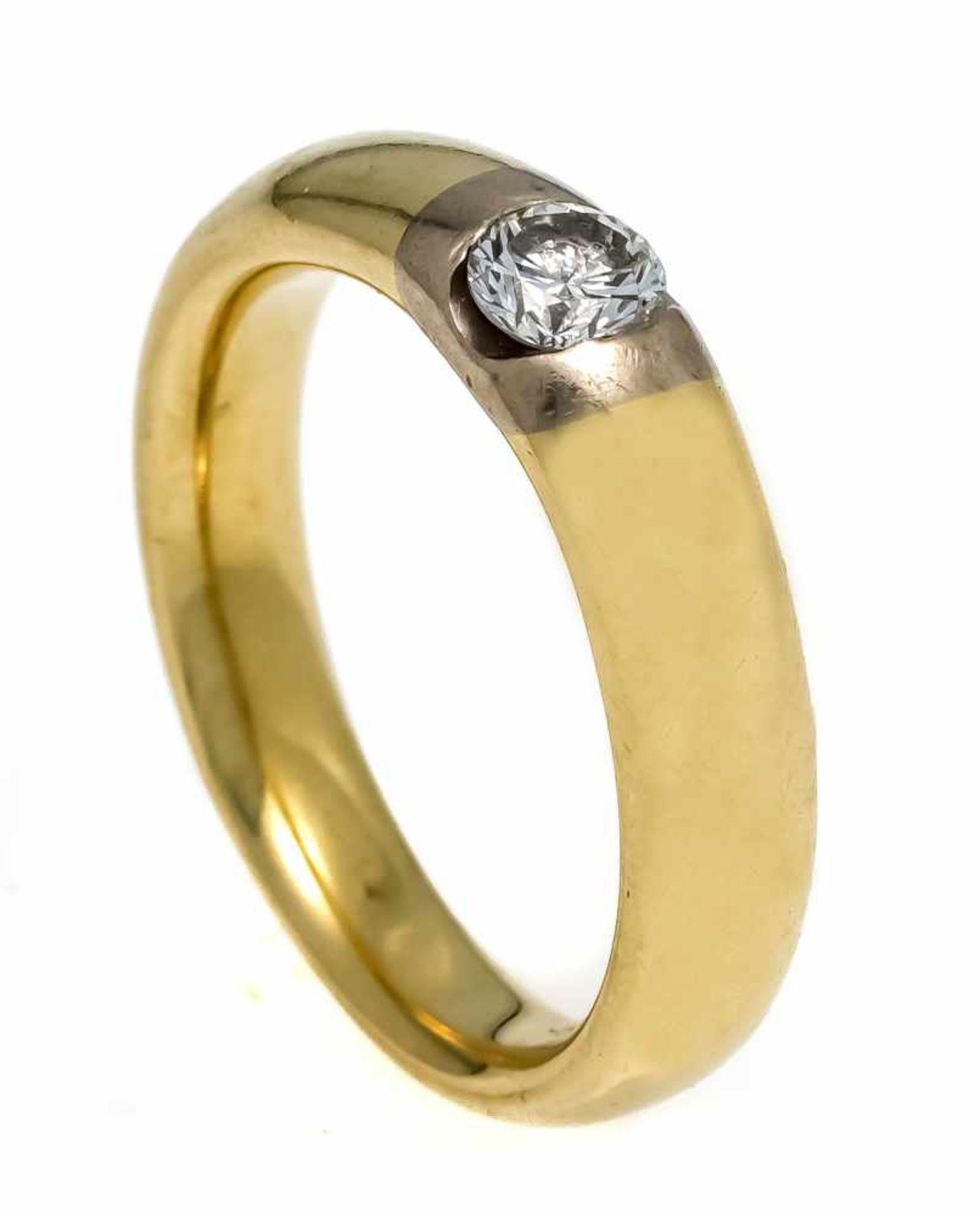 Brillant-Ring GG/WG 750/000 mit einem Brillanten 0,35 ct l.get.W-W/SI1, RG 55, 8,6 gDiamond ring