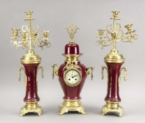 Porcelain pendulum, 2nd half of the 19th century, wine-red background, with corresponding urns,