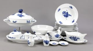 Dinner services for twelve persons, Royal Copenhagen, 20th c., Blue Flower model with basket