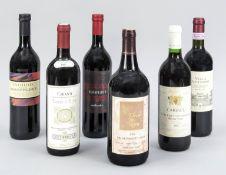 6 bottles of red wine: Villa Antinori Chianti Classico Riserva 1999, Torri d'Elsa Chianti 1997,