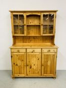 HONEY PINE TRADITIONAL KITCHEN DRESSER, THE UPPER WITH TWO GLAZED DOORS,