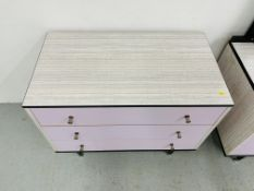 SUITE TWO PIECES BERRY FURNITURE RETRO 1970's BEDROOM FURNITURE COMPRISING SIX DRAWER DRESSING