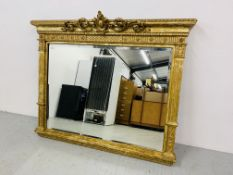 HIGHLY DECORATIVE GILT FINISH OVER MANTEL MIRROR WITH BEVELLED GLASS MIRROR (NEEDS ATTENTION TO