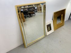 2 x DESIGNER WALL MIRRORS WITH GOLD DETAIL