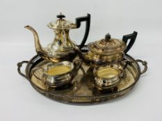 PLATED 4 PIECE TEASET TOGETHER WITH 2 HANDLED TRAY ENGRAVED DETAIL
