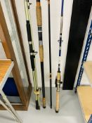 3 FISHING RODS TO INCLUDE KENLEY TACKLE 6FT ROD WITH REEL,