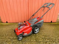 A MOUNTFIELD FREEDOM 48 CORDLESS ELECTRIC LAWN MOWER - MODEL EL 380 Li48 COMPLETE WITH CHARGER AND