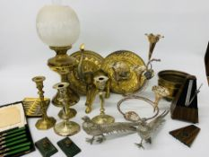BOX OF METALWARE TO INCLUDE SILVER PLATED EPERGNE, BRASS ELEPHANT, 2 PAIRS OF CANDLE STICKS,