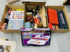 3 BOXES CONTAINING A COLLECTION OF VARIOUS TOYS, GAMES & VINTAGE DOLLS AND SOFT TOYS,