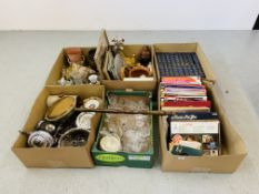 SIX BOXES OF MISCELLANEOUS HOUSEHOLD EFFECTS TO INCLUDE RECORDS, THE WORKS OF CHARLES DICKENS,