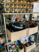FOUR BOXES CONTAINING GOOD QUALITY KITCHENWARES AND CLEANING PRODUCTS TO INCLUDE, SAUCEPANS,