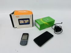 A MOTOROLA MOTO G7 SMARTPHONE WITH CHARGER ALONG WITH A NOKIA MOBILE PHONE AND RAC SAT NAV - SOLD