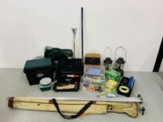 2 BOXES CONTAINING A COLLECTION OF MIXED FISHING ACCESSORIES TO INCLUDE JARVIS WALKER 2.