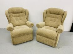 PAIR OF MODERN WING BACK FAWN UPHOLSTERED ARMCHAIRS,