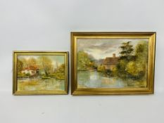A FRAMED OIL ON BOARD FLATFORD MILL, BERGHOLT BEARING SIGNATURE SAXON SEAMAN 50 X 34.