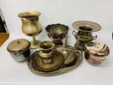 COLLECTION OF PLATED WARE TO INCLUDE TWO HANDLED GALLERY EDGE TRAY,