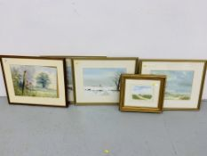 3 x FRAMED LOCAL WATERCOLOUR SCENES BEARING SIGNATURE RON EDWARDS,