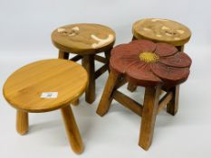 TWO HARDWOOD STOOLS WITH HAND CARVED CAT DESIGN,