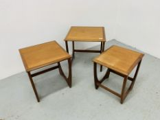 A G PLAN TEAK RETRO STYLE GRADUATED SET OF THREE OCCASIONAL TABLES