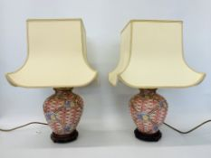 PAIR OF DECORATIVE BASKET PATTERNED TABLE LAMPS WITH FLOWER DETAIL AND SHADES - SOLD AS SEEN