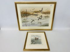 TWO FRAMED AND MOUNTED ORIGINAL WATERCOLOURS - MALLARD IN FLIGHT OVER WETLAND 33cm X 47cm AND