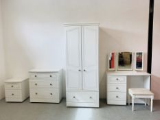 "A FOUR PIECE ""ASPEN"" BY ALSTONS MODERN WHITE FINISH BEDROOM SUITE COMPRISING OF DOUBLE WARDROBE"