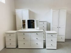 "A SIX PIECE ""ASPEN"" BY ALSTONS MODERN WHITE FINISH BEDROOM SUITE COMPRISING OF TWO DOUBLE WARDROBES"