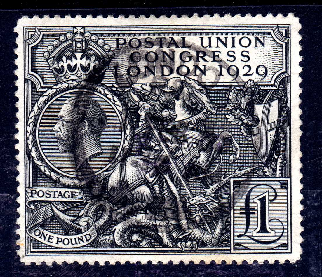 GB: 1929 PUC £1 USED, LONDON PARCEL CDS,