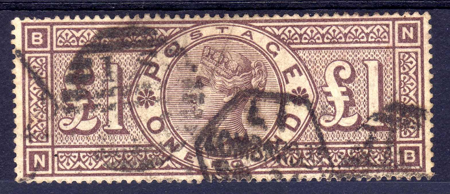 GB: 1884 £1 BROWN-LILAC WMK CROWNS, SOUN