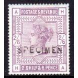 GB: 1883-4 2/6 OG OPT SPECIMEN TYPE 11.