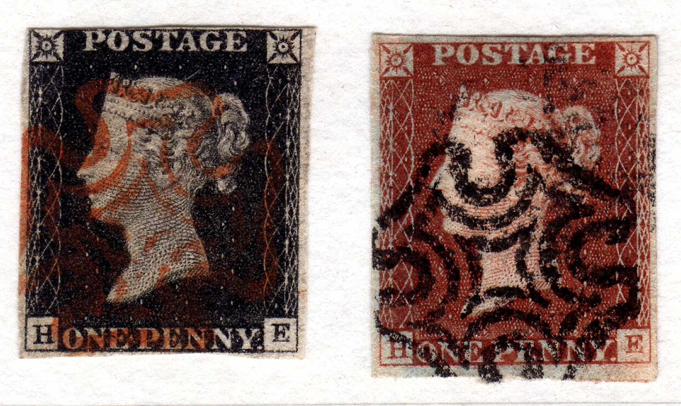 GB: 1840-1 1d MATCHED PAIR PLATE 2 HE, 1 - Image 2 of 2
