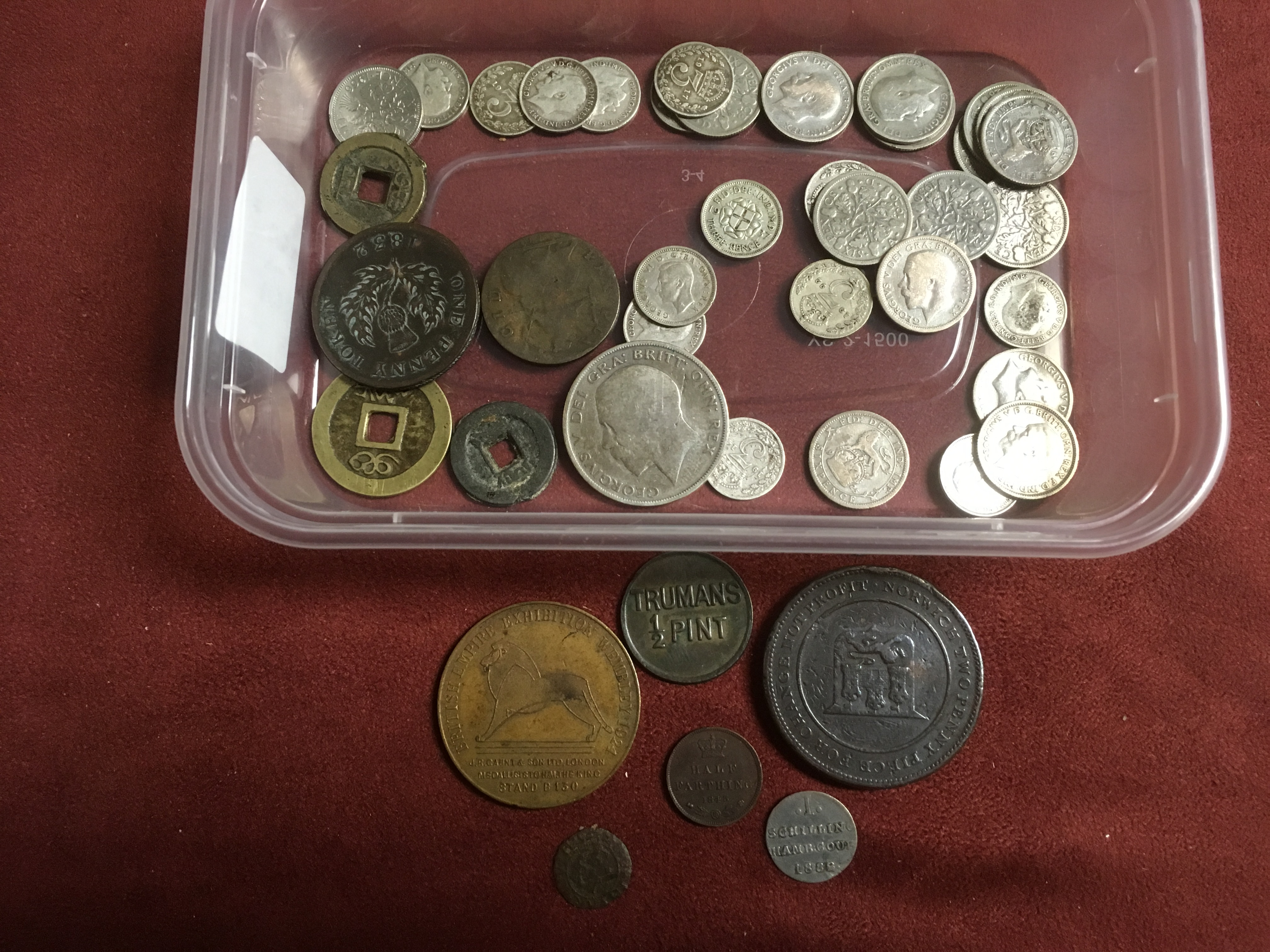 TUB WITH MIXED COINS, GB SILVER 6d AND 3