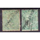 BERMUDA: 1874 THREE PENCE ON 1/- TYPES 6