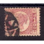 GB: 1870 1/2d PLATE 9 SOUND USED, BOTH P