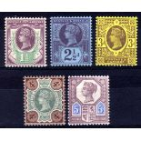 GB: 1887-1900 JUBILEE, FIVE VALUES TO 5d
