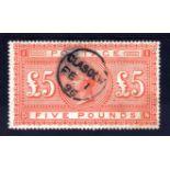 GB: 1867-83 £5 ORANGE ON WHITE PAPER USE