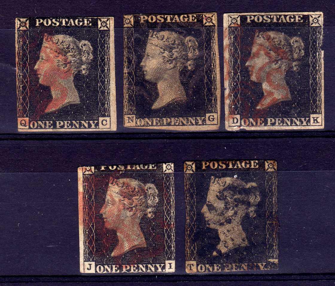 GB: 1840 1d BLACKS, FIVE USED EXAMPLES,