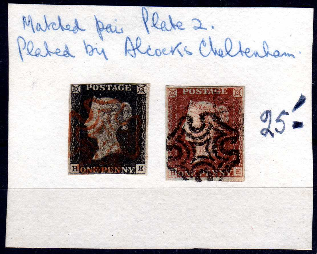 GB: 1840-1 1d MATCHED PAIR PLATE 2 HE, 1