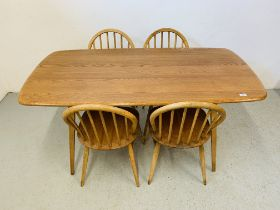 AN ERCOL ELM RECTANGULAR DINING TABLE 153CM X 77CM ALONG WITH A SET OF FOUR ERCOL STICK BACK DINING