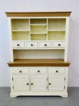 A MODERN PAINTED AND NATURAL FINISH OAK TOP DRESSER - W 139CM. H 190CM. D 43CM.