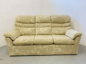A G PLAN THREE SEATER MODERN SOFA WITH CREAM UPHOLSTERY - LENGTH 200CM.