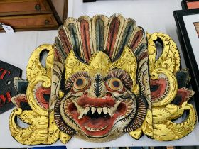 COLOURED INDIAN WALL MASK TOGETHER WITH SET OF 6 FRAMED INDIAN STYLE PRINTS + ONE OTHER